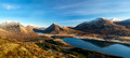 panoramic view of loch slapin with red cuillins