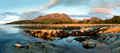 panoramic view of sannox beach and the mountains, arran