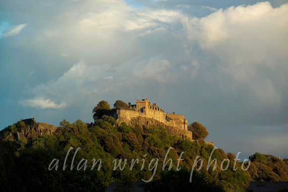 stirling castle   from below with stormy sky rising